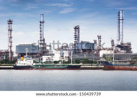 Petroleum oil refinery factory on riverside in Thailand