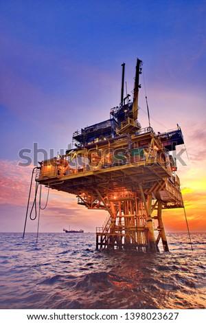 Petroleum platform and beautiful morning #1398023627