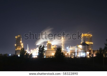Petroleum Refinery of Montreal at Night