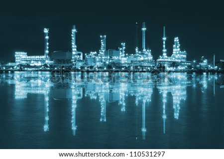 Petroleum Refinery plant area at twilight