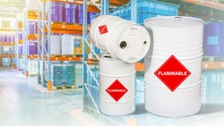 Petroleum. Storage of flammable substances. Concept - flammable substance in barrels. Warehouse of a chemical enterprise. Barrels of chemicals are stored on shelves. Concept - warehouse rental.