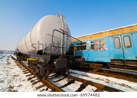 Petroleum tank on railway in a sunny winter day