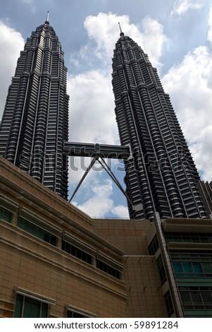 Petronas Towers In Kuala Lumpur On A Gloomy Day! - stock photo