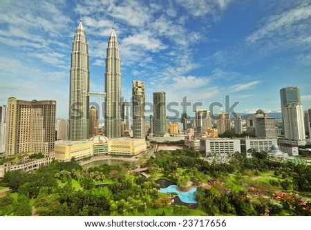 Petronas Twin Towers in Malaysia in Summer Sunny Day Beautiful Urban View