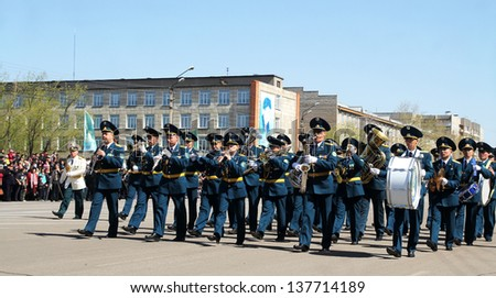 """PETROPAVLOVSK  MAY  7: Public holiday """"Day of the Armed Forces of Kazakhstan"""" May 7, 2013, Kazakhstan, a parade of soldiers and military equipment."""