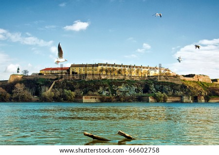 Petrovaradin Fortress in Serbian town Novi Sad over a Danube river.