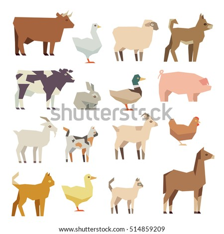 Pets and farm animals flat icons set. Polygonal animal hen and cattle, lamb and duck, illustration figure colored farm animal