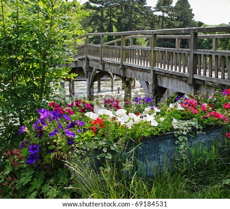 Petunia Flowers in a metal planter by a wooden footbridge over the river Thames in England