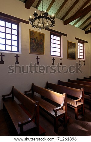Pews in Mission Santa Cruz in Santa Cruz, California