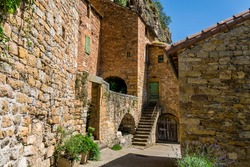Peyre, medieval village above the Tarn, with its troglodyte church in Aveyron.
