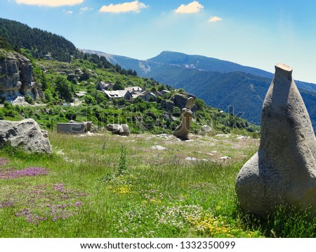 Peyresq is a romantic mountain village in the French Alps of Provence. Flowering flower meadows surround the village. #1332350099