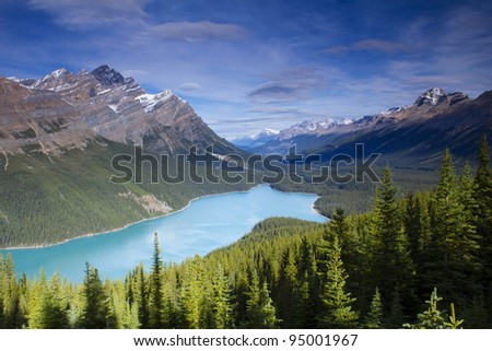 Peyto Lake and valley surrounded by mountains