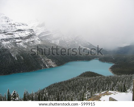 peyto lake in the canadian rockies just after a fall snowstorm
