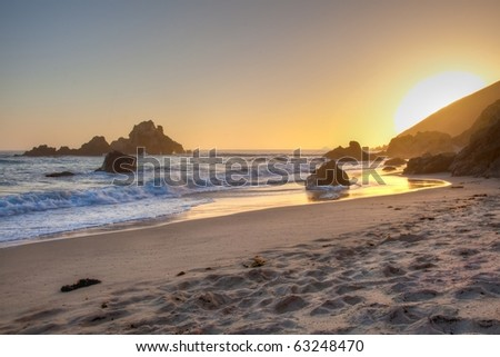 Pfeiffer Beach in Big Sur is an incredibly scenic beach. - stock photo