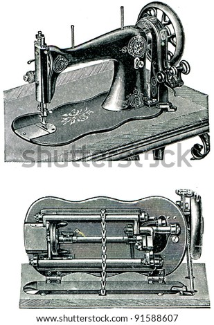 "Pffaf's sewing machine with a circular hook - illustration from the encyclopedia publishers ""Education"", St. Petersburg, Russian Empire, 1896"