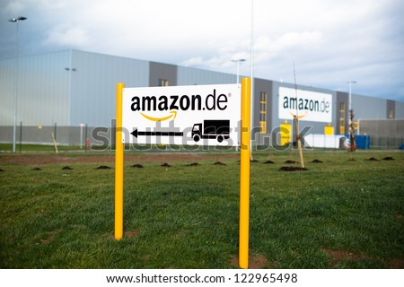 PFORZHEIM - DECEMBER 27, 2012: The newly opened warehouse (approx. 110.000 square meters) of retailer amazon.de, the German subsidiary of amazon.com on December 27, 2012 in Pforzheim, Germany.