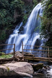 Pha Dok  Seaw waterfall or Rak Jang waterfall in Doi Inthanon National Park,Thailand,Most Famous in Thailand, Beautiful silky waterfall flow through stones.