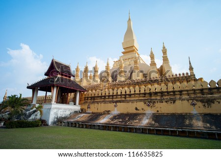 Pha That Luang, Golden Stupa tradition landmark, Vientiane, Laos - stock photo