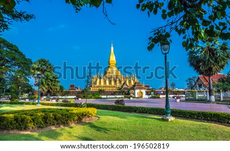 Pha That Luang, 'Great Stupa' is a gold-covered large Buddhist stupa in the centre of Vientiane, Laos. It is generally regarded as the most important national monument in Laos and a national symbol.