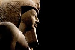 Pharaoh Horus Anubi egyptian gods dead religion symbol stone statue isolated on black