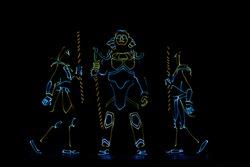 Pharaoh light show, neon lights.