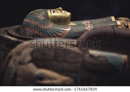 Pharaoh sarcophagus on black background Stock photo ©