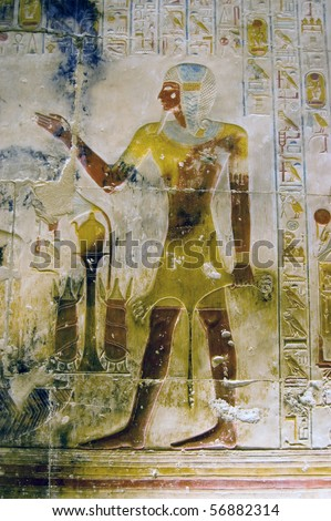 Pharaoh Seti in Lion skin An ancient Egyptian painted hieroglyphic carving of the Pharaoh Seti wearing the skin of a lion.  Inner wall at the Temple to Osiris at Abydos, Egypt.