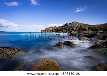 Phare du Millier, lighthouse on Cap Sizun. Beautiful landscape of Finistère, Brittany / Bretagne, France. Stok fotoğraf ©