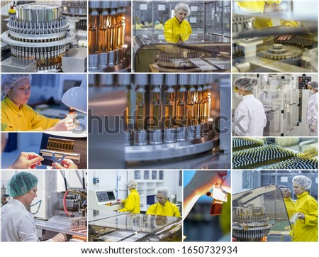 Pharmaceutical and Medicine Manufacturing - Pharmaceutical Workers - Collage Photo. Pharmaceutical industry photo collage showing workers at work on production of medicines in pharmaceutical factory.