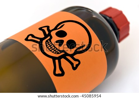 Pharmaceutical bottle with skull symbol