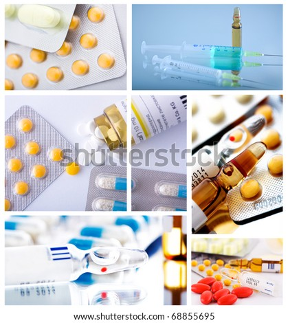 pharmaceutical collage background from several image