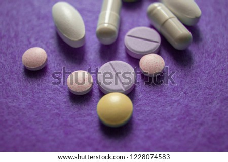 Medicines/pills/tablets on white background Images and Stock Photos