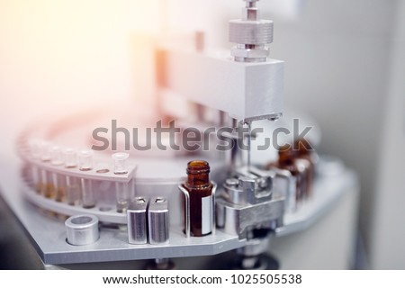 Pharmaceutical production line. Vaccine from epidemic, cancer, disease, virus