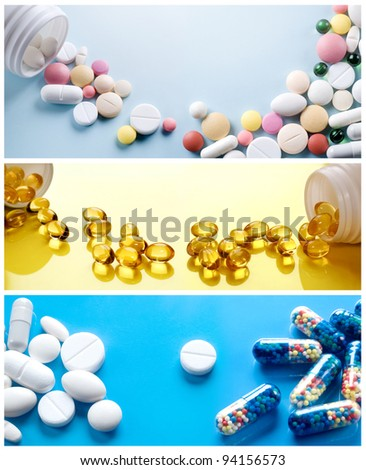 Pharmaceutics collection. Health background