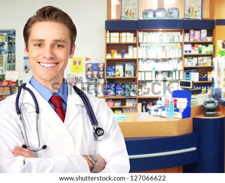 Pharmacist in a drugstore. Health care concept