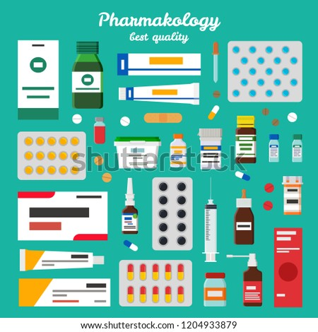 Pharmacology best quality representing icons of pills, ointments and inhalers, syringes and syrups  illustration isolated on green