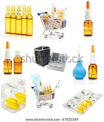 Pharmacy and apothecary background. Set of medications and medicine tools