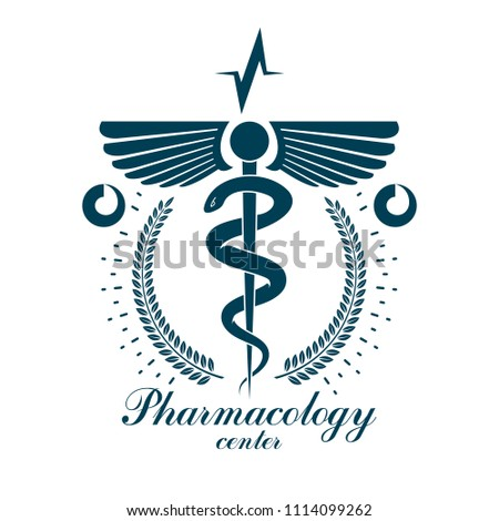 Pharmacy Caduceus icon, medical corporate logo for use in rehabilitation or pharmacology business.