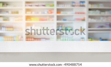 pharmacy drugstore background with wood counter