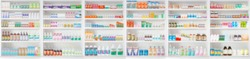 pharmacy drugstore shelves blur pharmaceutical medicine product panoramic background