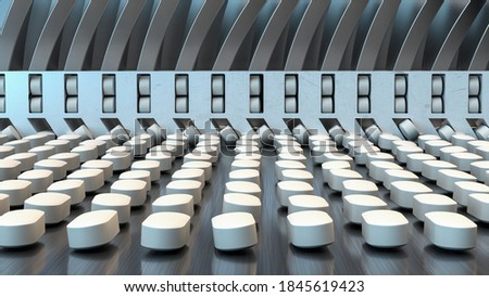pharmacy medicine  pill in production line at medical factory,3d illustration. Photo stock ©