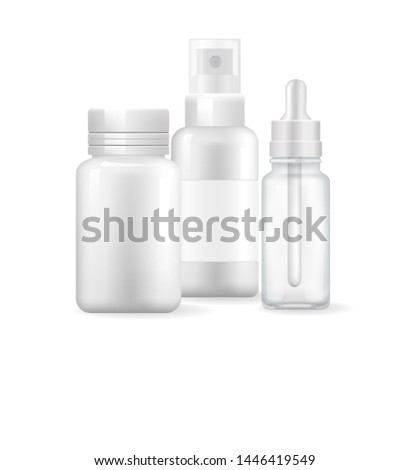 Pharmacy poster with nasal spray and container of capsule pills, ear drops, aerosol sprayer set of treatment remedies mock up empty items raster items