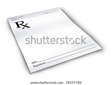 Pharmacy prescription isolated on a white background representing a doctor's medicine remedy given to a pharmacist. - stock photo
