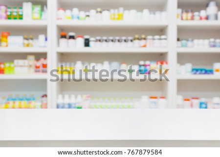 pharmacy store background with drugstore counter