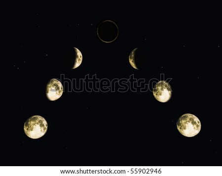 Phases of the moon and a Lunar Eclipse on night star filled background. Original illustration