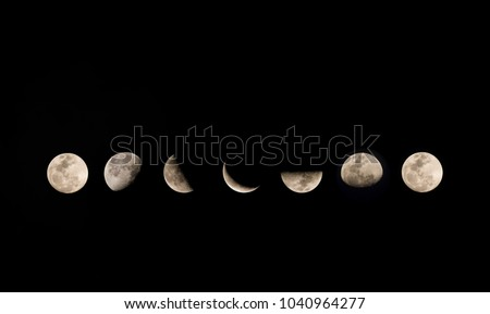Phases of the moon. Phases of the growing moon.