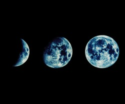 Phases of the Moon seen with a telescope