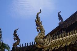Phaya Naga Stucco is the holy thing of Buddhists and Thai people. Phaya Naga statues, beautiful art of Thailand.