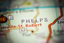 Phelps. Missouri. USA on a geography map