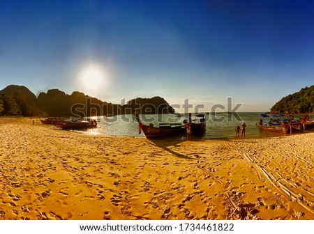 PHI PHI DON, THAILAND - DECEMBER 23, 2019: Nui Beach in Koh Phi Phi Don at sunset, Thailand. Panoramic view.